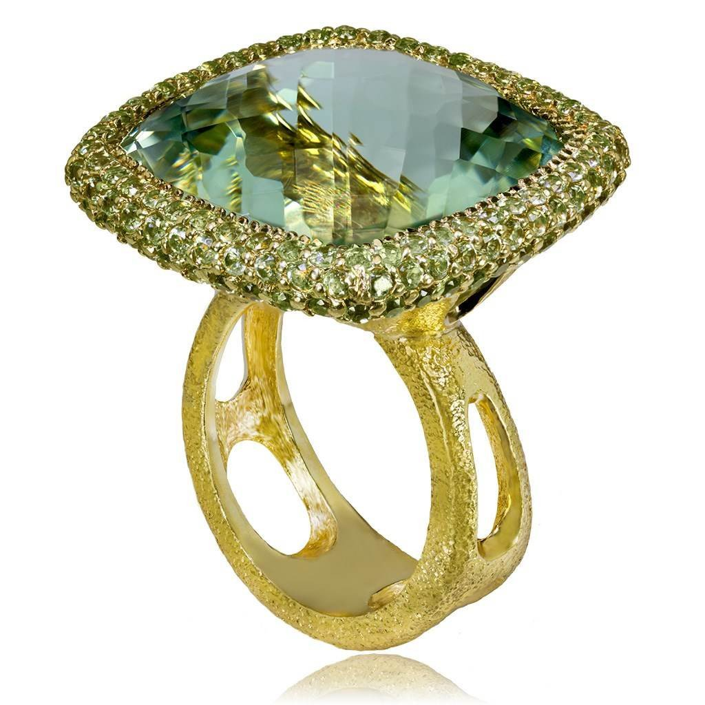 Green Amethyst and Peridot Royal Ring in Yellow Gold