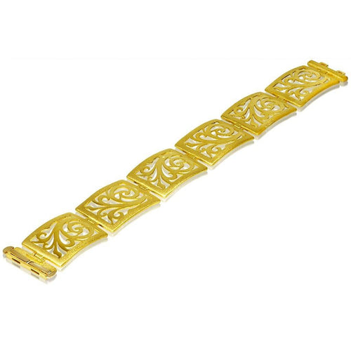 Gold Ornament Link Bracelet with Contrast Texture
