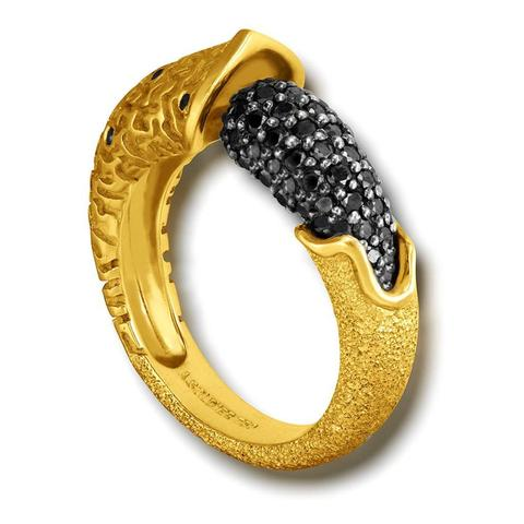 Black Diamonds and Yellow Gold Aorn Ring