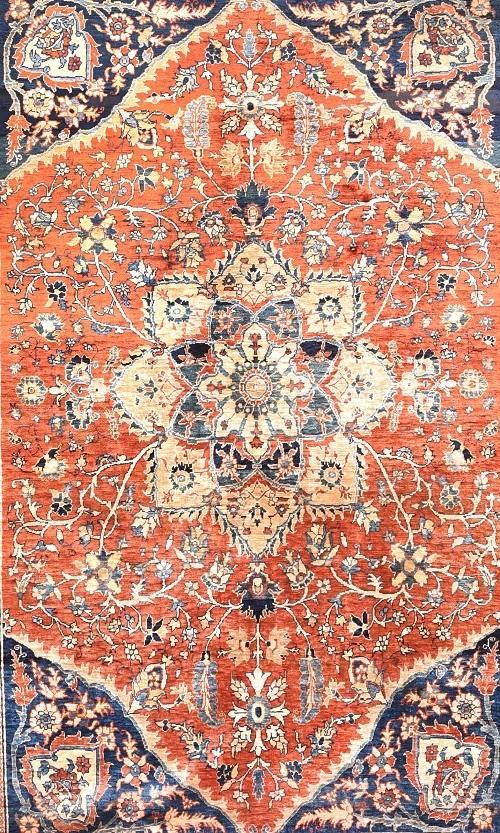 Antique Hand Made Heriz Silk Persian Rug