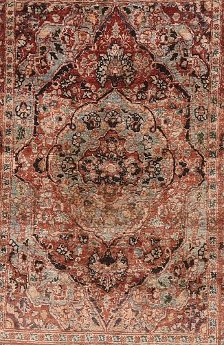 Pair Antique Hand Made Tabriz Haji Jalili Persian Rug