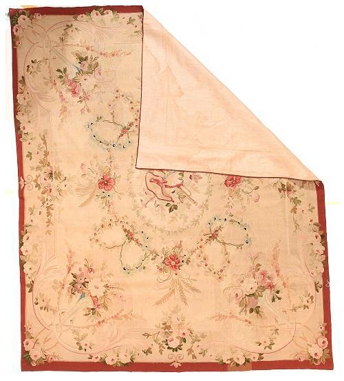 "Antique French Aubusson Tapestry, Size 5' 1"" x 6' 2"""