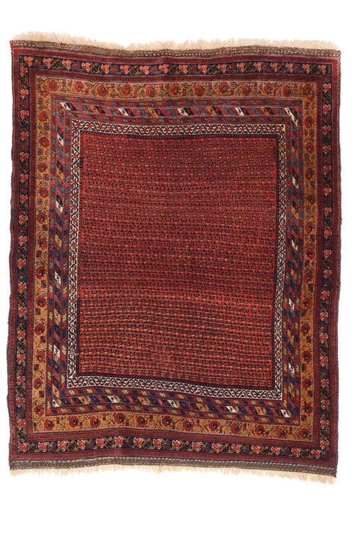 "Antique Persian Afshar Rug, Size 3'9"" x 4'9"""