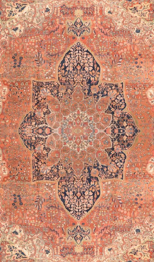 Antique Hand Made Persian Farahan sarouk rug circa 1890