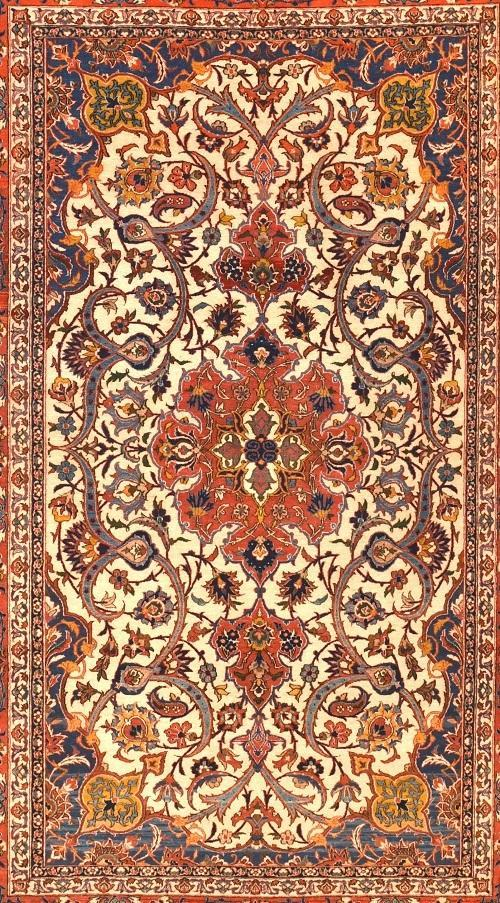 Antique Hand Made Isfahan Persian Rug