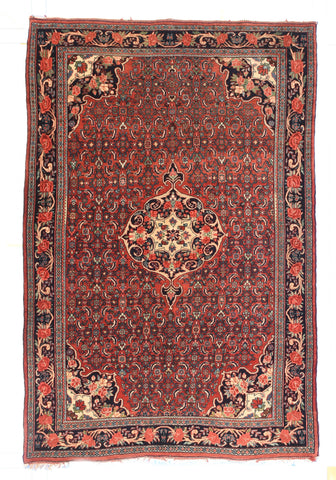 Antique Hand Made Kashan Dabir Persian Rug