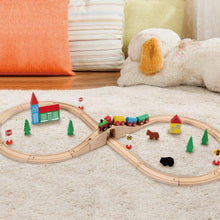 Wooden Train Set Toy with Double-Side Train Tracks, 37 PCS - SainSmart Jr.
