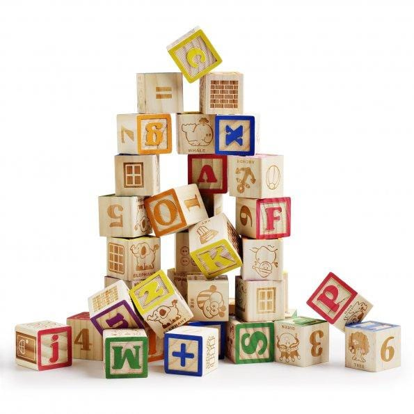 Wooden ABC Blocks with Mesh Bag, 40PCS