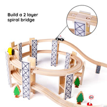 SainSmart Jr. Wooden Train Set Toy with Rail High Level Part, 50 PCS Flyover Overpass Wooden Train Playset with 5 Magnetic Train Cars for Toddlers