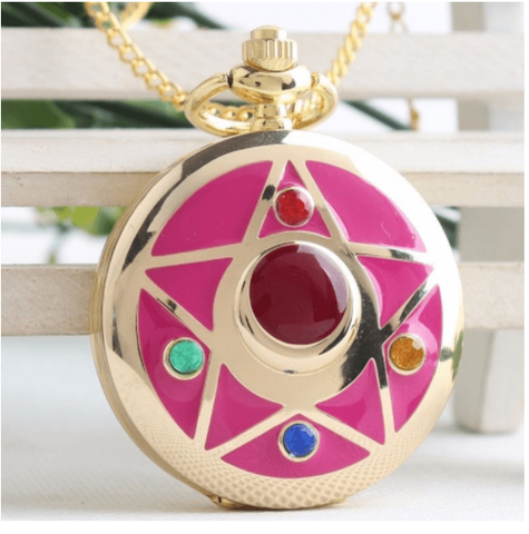 Moon Prism Watch Necklace - 14k Gold Plated