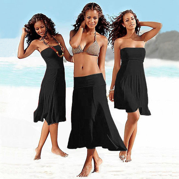 4-in-1 Strapless Beach Dress - Black and White