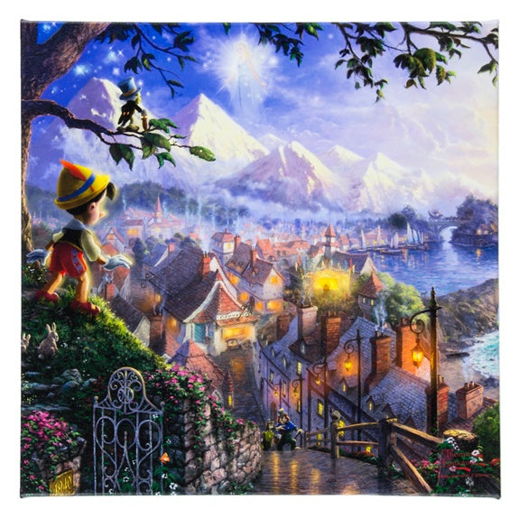 Pinocchio on Canvas 14x14 by Kinkade