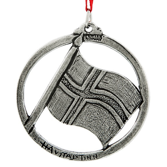 Norway Pewter Flag Ornament
