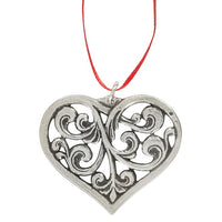 Norway Pewter Rosemaling Heart Ornament