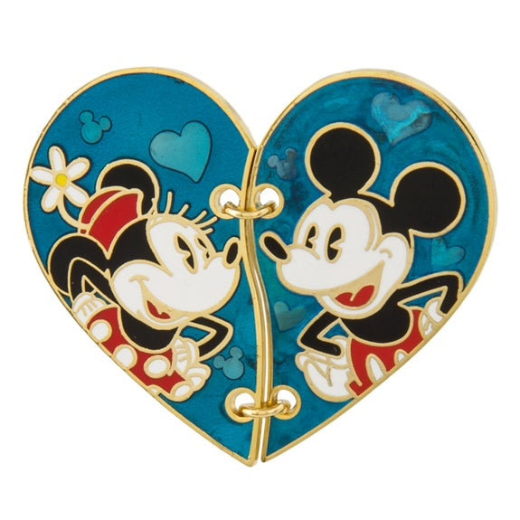 Mickey & Minnie Stitched Half Heart Pin