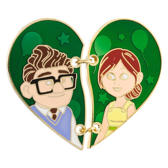 Carl & Ellie Stitched Half Heart Pin