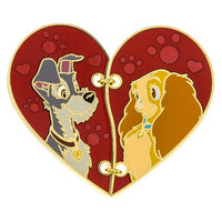 Lady & the Tramp Stitched Half Heart Pin