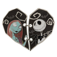 Jack & Sally Stitched Half Heart Pin
