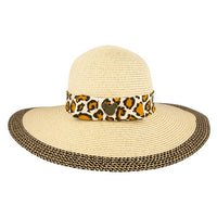 Mickey Icon Animal Print Straw Hat