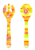 Disney Parks Citrus Mickey Mouse Melamine Serving Utensils Fork Spoon