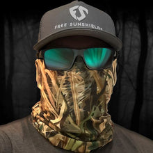man wearing free sunshields hat sunglasses green wetland camo neck gaiter mask