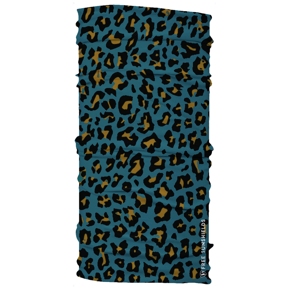 Jackonville teal gold jaguar animal print Duval Y'all Neck Gaiter mask