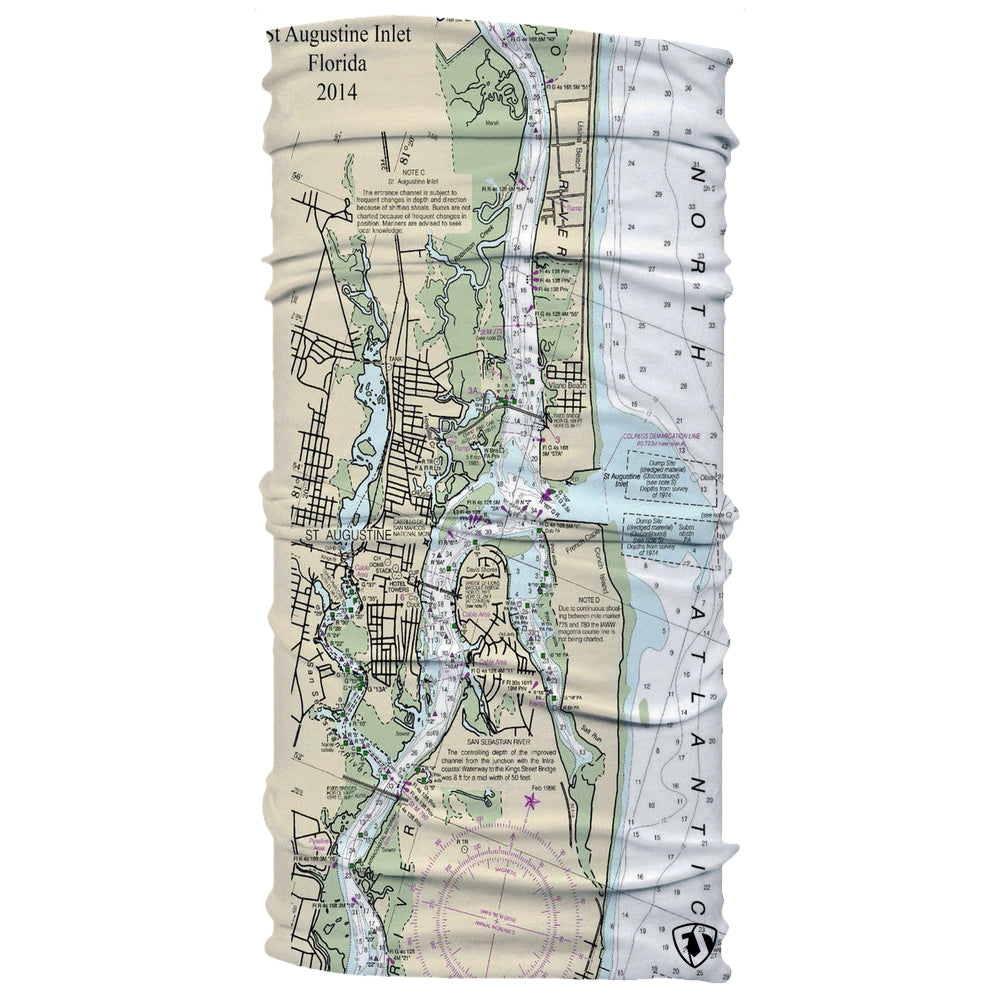 Historic Ocean Map St. Augustine Nautical Chart Neck Gaiter
