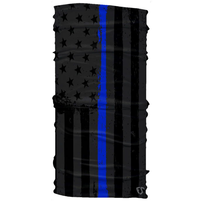 Police Law Enforcement American Black Thin Blue Line Flag Neck Gaiter