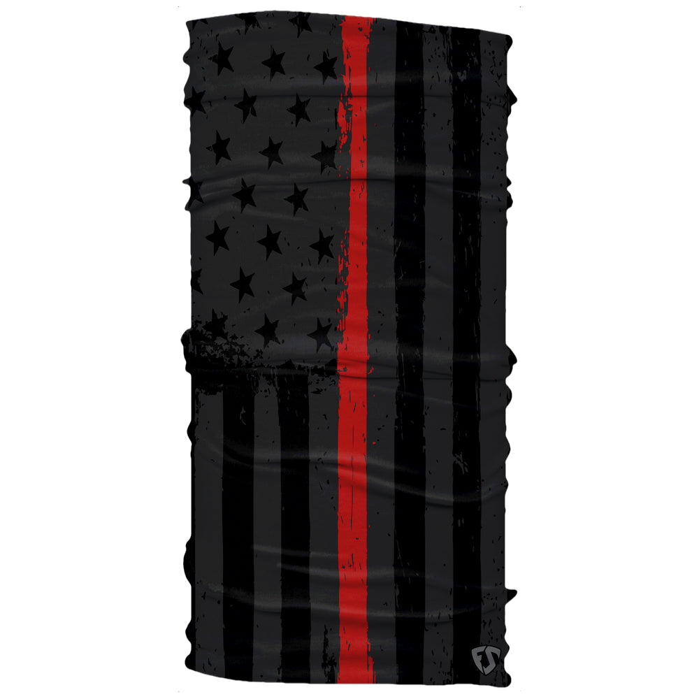 Firefighter American Black Thin Red Line Flag Neck Gaiter