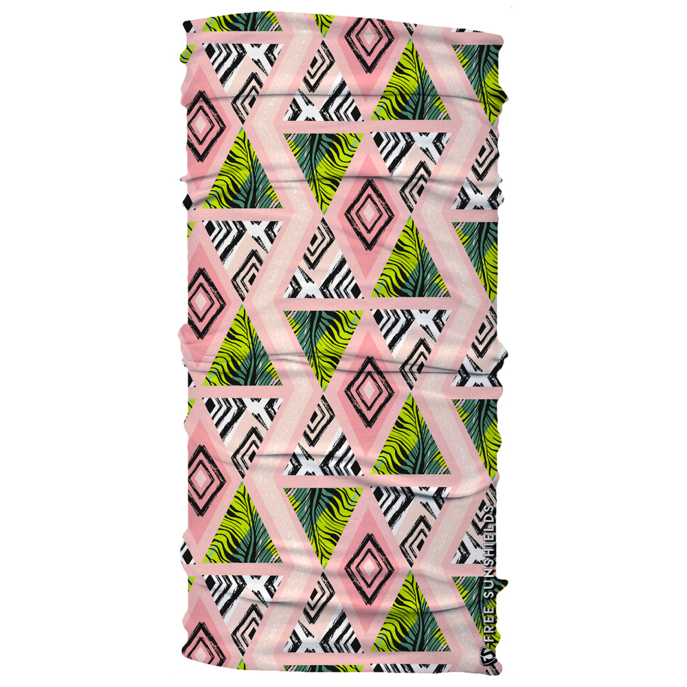 Square Geometric Pattern of Tropical Trees Tropic Palm Neck Gaiter
