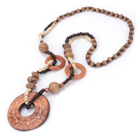 Image of TDUnique Wood Beaded Pendant Necklace WNE9880