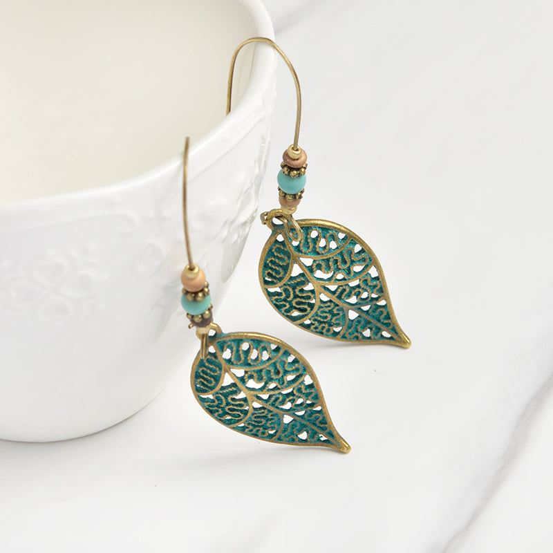 TDUNique Bronze Antique Leaf Beads Drop Earrings Ethnic Vintage BOHO style