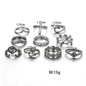 TDUNique 10pcs 10 in 1 unique fashion ring set