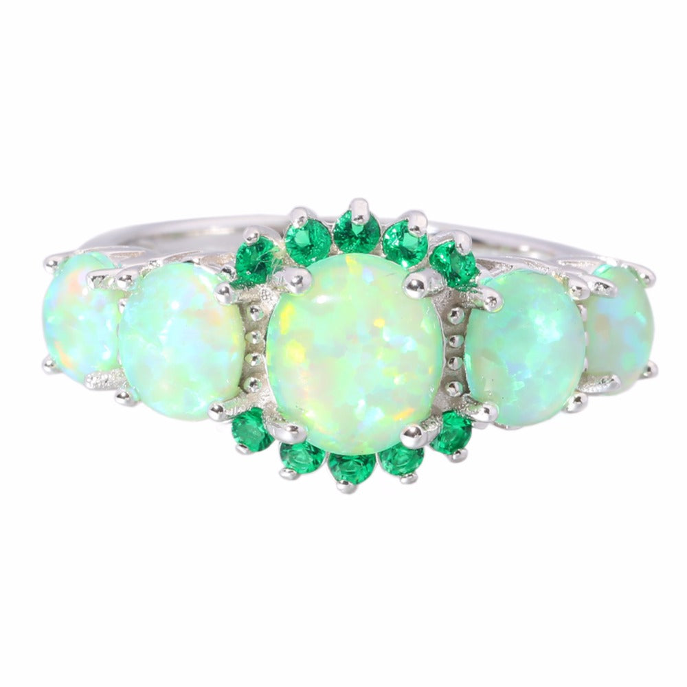 TDUnique Green Seafoam Opal Crystal Silver Plated Ring