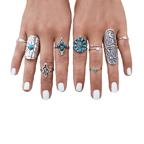 TDUnique 9pcs 9 in 1 stylish set of rings