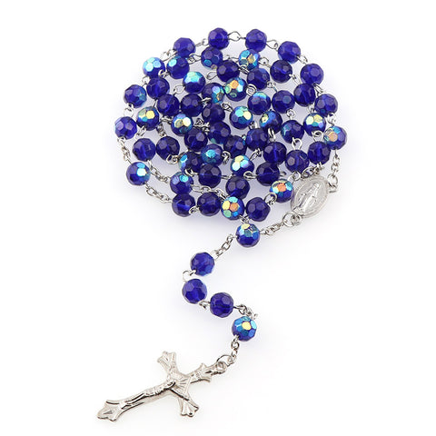 Beaded Sapphire Necklace with Crucifix Pendant