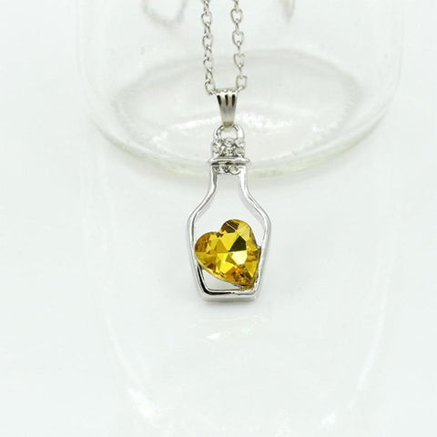 Hollow Heart Bottle Necklace WNE9850
