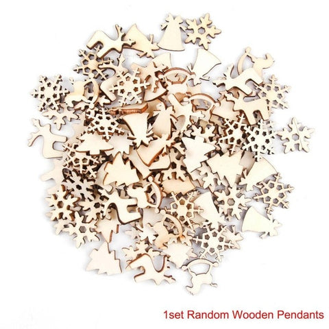 Image of 100pcs Wooden Christmas Tree Decor pieces