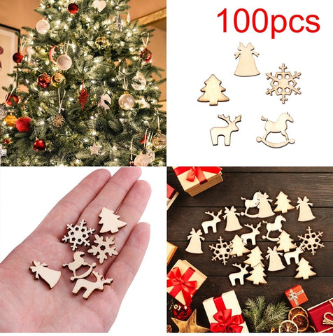 100pcs Wooden Christmas Tree Decor pieces