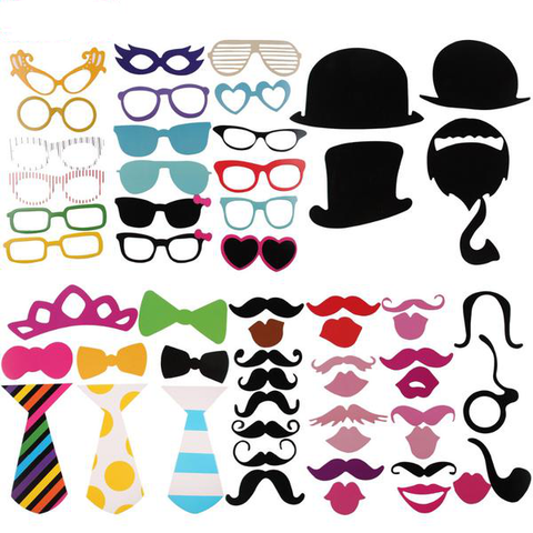 Image of Party Photo Booth Props Masks 58pcs