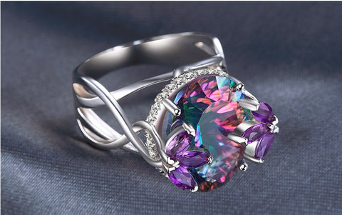 Rain light Mystic Topaz 12ct Sterling Silver ring