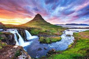 Waterfall and Mountains  - 02187 - Wall Murals Printing - wall art