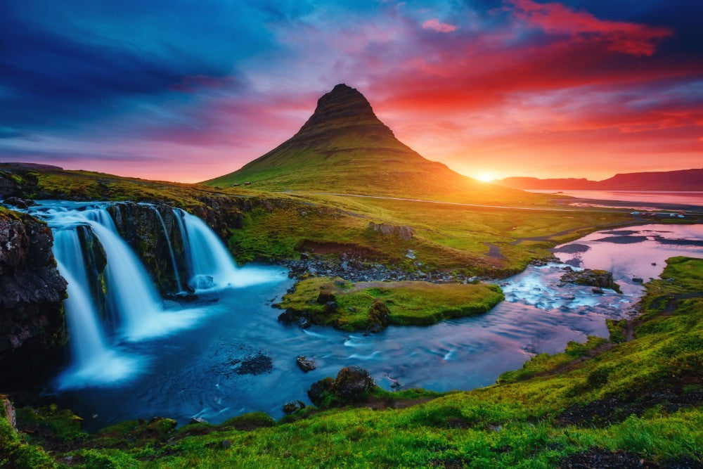 Waterfall & Mountains Sunset  - 02206 - Wall Murals Printing - wall art