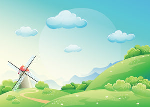 Windmill Illustration - 042 - Wall Murals Printing - wall art
