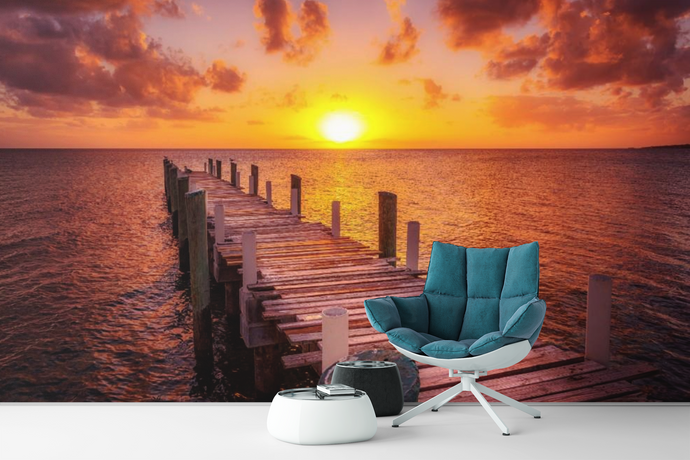 Old Dock Sunset  - 02232 - Wall Murals Printing - wall art