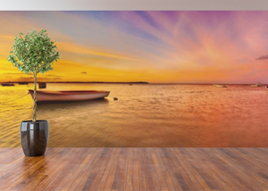 Boat on the lake Panoramic  - 02213 - Wall Murals Printing - wall art