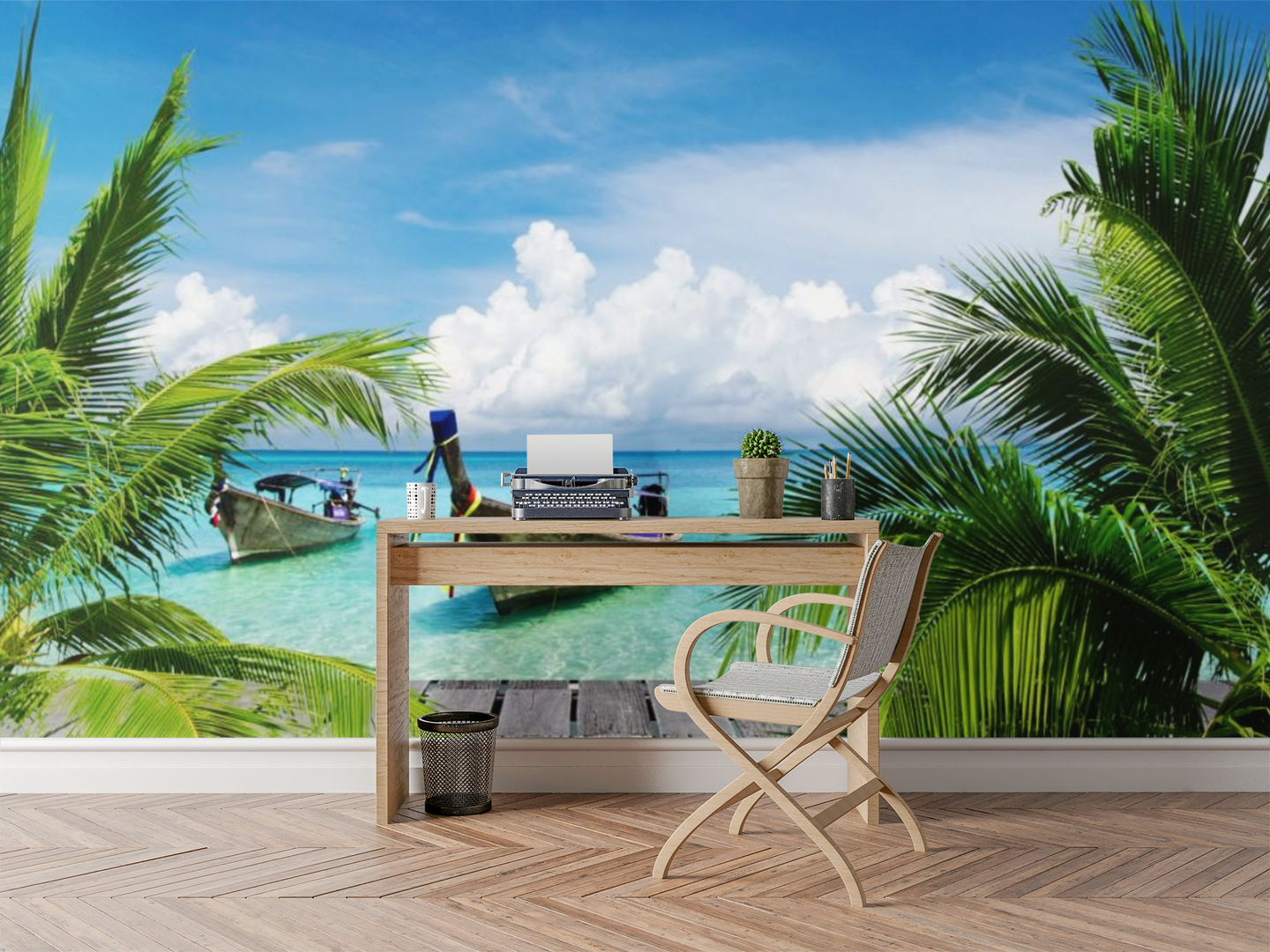 Boat With Palm Trees - 026 - Wall Murals Printing - wall art