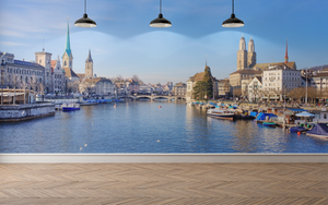 Classic City & River - 0116 - Wall Murals Printing - wall art
