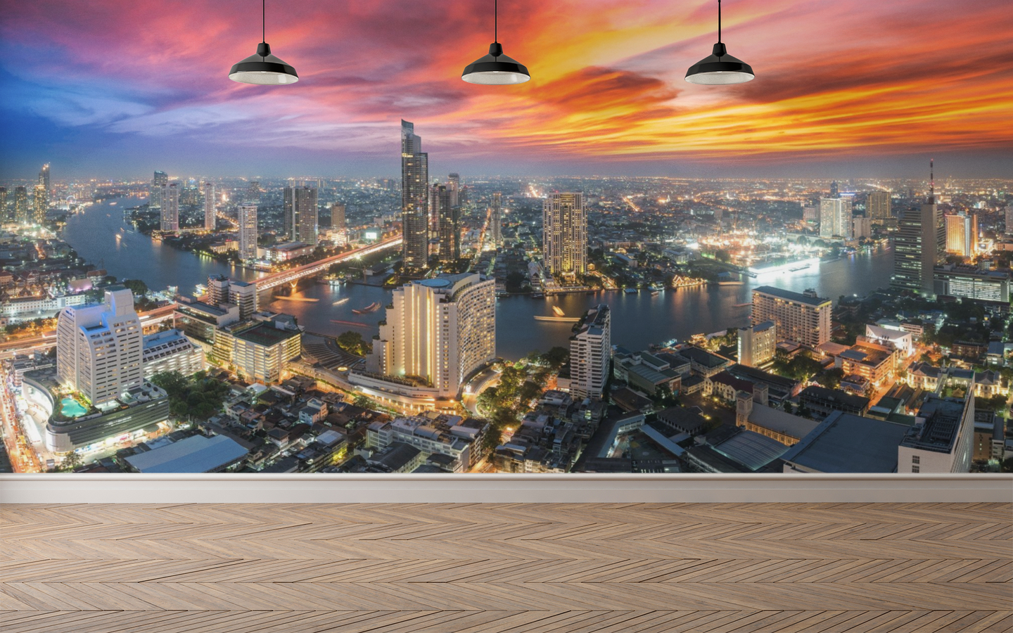 Aerial View City Sunset wall mural - 01107 - Wall Murals Printing - wall art