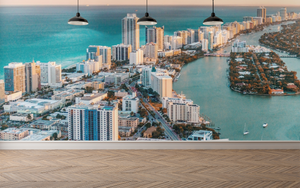 Aerial City and Sea Wall Mural - 01130 - Wall Murals Printing - wall art